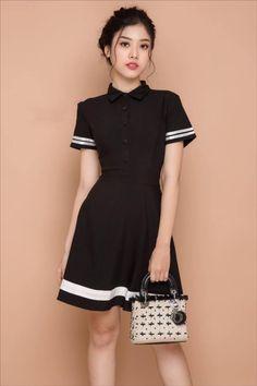 dambody.net - Đầm xòe cổ sơ mi viền màu đen dễ thương