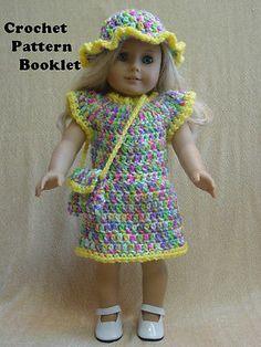 Crochet Pattern #SH2 Dress Hat Purse Fits the most popular 18 inch dolls