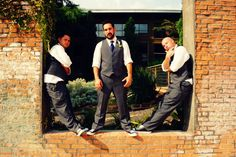 Groom and groomsmen at The Cotton Mill.