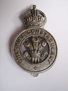 """POLICE CHROME BUTTONS KINGS CROWN /""""POLICE FORCE/"""" 1940s STYLE LARGE /& SMALL"""