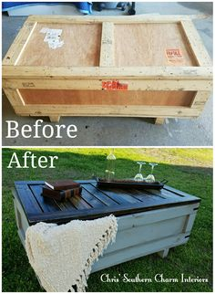 Repurposed shipping crate, painted with grey on the bottom and distressed, stained top and added more boards to top.
