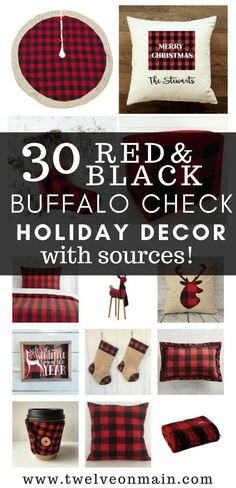 Do you love red and black buffalo plaid? What about using it in your holiday decor? I have 30 amazing red and black buffalo plaid holiday decor ideas! #holidaydecor #christmasdecor
