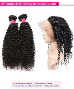 360 Lace Frontal With 2 Bundles Kinky Curly Virgin Hair
