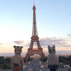 #eiffeltower #paris #bff #pocketdoll #coralandtusktravel #owl #raccoon (at Trocadéro)