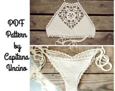 This listing is PDF CROCHET PATTERN for Aliyah Bikini Top and Highwaist Bottom, NOT finished item:) Skill level: EASY, INTERMEDIATE You should know the basic stiches: chain stitch, single crochet, slip stitch, double crochet. All the other sticthes used in the pattern are explained.  This pattern is written in standard American terms and includes lot of photos of the process (120+ photos in total and the charts for the Triangle/Square Mandala). Pattern includes instructions for the follo...