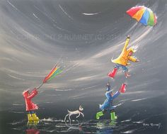 PETE RUMNEY FINE ART ORIGINAL ACRYLIC OIL PAINTING COLOURS UMBRELLA FUN LARGE in Art, Direct from the Artist, Paintings | eBay