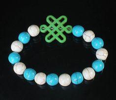 Turquoise Green Chinese Idea Knot & Blue White Ball Beads Mala Bracelet ZZ826