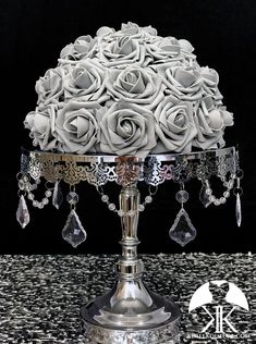 GRAY Rose Arrangement. Half Flower Ball Pomander. Floating Flower Ball. Gray Wedding Centerpiece. GRAY CENTERPIECE. Pick Rose Color 12 Size pictured with GRAY PREMIUM Real Touch ROSES. SILVER STAND WITH CRYSTALS SOLD SEPARATELY  These beautiful roses have a real feel and look to them. Why spend Flower Ball Centerpiece, Crown Centerpiece, Red Centerpieces, Silver Centerpiece, Mickey Centerpiece, Aqua Wedding, Bling Wedding, Gray Weddings, Burgundy Wedding