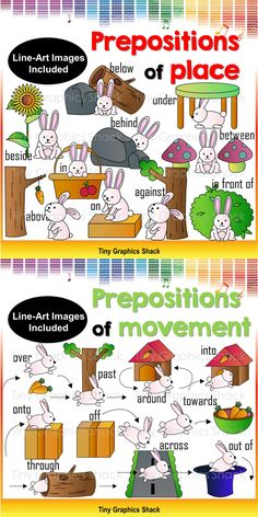 Prepositions of movement and prepositions of place: above, below, against, behind, in front of, between, in, on, next to, and under, across, around, into, off, onto, out of, over, past, through, and towards