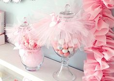 "Really cute idea for candy and sweets jars with a tulle ""tutu"". #loricoleevents #californiabridaleventz #luckypennyboutique"