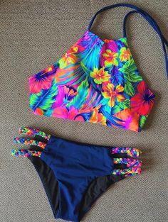 $10.68 Glamour tropical de la impresión Trenzado Mujeres 's Bikini Set
