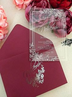 Matte cardboard envelope, with foil, printed acrylic card, at least 50 pieces - - Wedding Invitations With Pictures, Acrylic Wedding Invitations, Unique Wedding Invitations, Wedding Stationary, Wedding Invitation Cards, Wedding Cards, Wedding Goals, Our Wedding, Wedding Venues