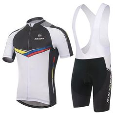 Men's White Short Sleeve Cycling Jersey Set #Cycling #CyclingGear #CyclingJersey #CyclingJerseySet