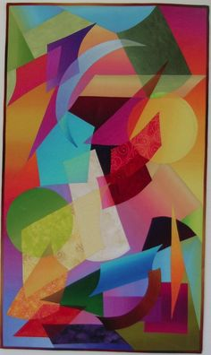 """"""" Encounter"""" by Shirley Gisi. Inspired by mid-century abstract art;  It features translucence where some shapes overlap."""