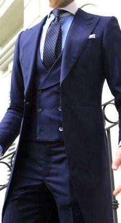 Men's Suits - 2016 Navy Gentleman Morning Tuxedos Men Wedding Prom Suits Best Man Suit 3 Piece Bridegroom Groomsman Tailcoat Jacket+Pants+Vest Dapper Gentleman, Gentleman Style, English Gentleman, Mode Masculine, Sharp Dressed Man, Well Dressed Men, Wedding Men, Wedding Suits, Wedding Groom