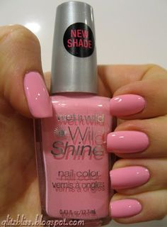 Wet n Wild Tickled Pink.  This looks like the shade of the first nail polish I ever got. At 5. For not sucking my thumb for a week.
