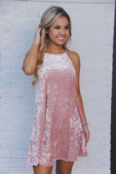 Baby pink crushed velvet tank dress - 90's style shopwhiskeydarling.com
