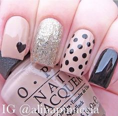 Beige and black nail art