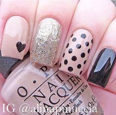 Beige and black nail art