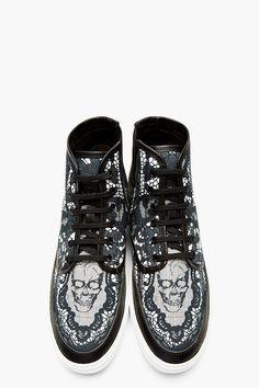 ALEXANDER MCQUEEN Black Skull & Lace High-Top Sneakers