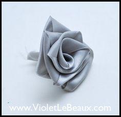 Ribbon Rose Tutorial by Violet LeBeaux, via Flickr