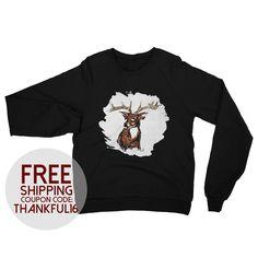 Deer Raglan Sweater Adult Unisex by LeahOwenArt on Etsy https://www.etsy.com/listing/493616255/deer-raglan-sweater-adult-unisex