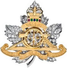 """In Dec., 2011 The Queen rec'd an early Diamond Jubilee gift from Canada's Royal Regiment of Canadian Artillery to mark the 60th anniversary of her time on the throne: a diamond, gold & platinum brooch symbolizing her """"special relationship"""" with the Manitoba-based military regiment.  The brooch was designed by the Montreal jewelry firm Birks & features a maple leaf encrusted with 60 individual diamonds, a gold cannon & a stylized crown set with a sapphire, emeralds & rubies."""