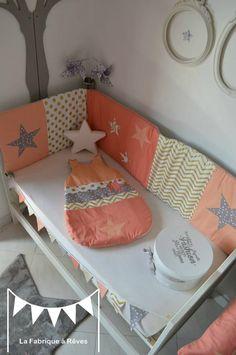 tour lit gigoteuse 0-6 mois bébé fille abricot corail doré gris étoiles chevron pois 2