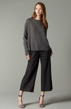 I like both the bottom and top. Eileen Fisher Sweater & Pants Outfit with Accessories Casual Outfits, Cute Outfits, Fashion Outfits, Womens Fashion, Wide Pants Outfit, Pantalon Large, Pants For Women, Clothes For Women, Work Fashion
