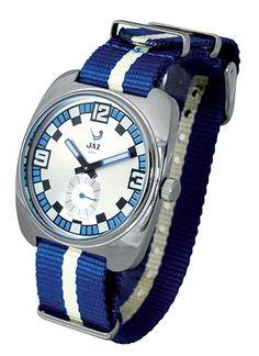 """Montre vintage 2002 PHENIX - bracelet en cuir bleu (bracelet """"Nato"""" offert), boitier en métal couleur acier et cadran argent - JZ 110-3 - pour homme - Boutique Officielle JAZ - un savoir-faire horloger made in France depuis 1919."""