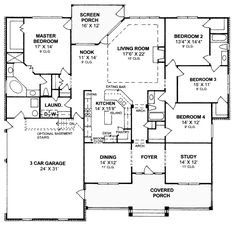 Colonial Traditional House Plan 67881 Level One******scoot the livingroom to the left, and put the diningroom to its right,*******************************