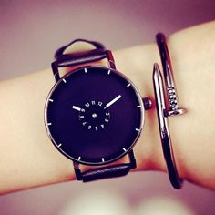 Find More Lover's Watches Information about Unisex Leather Strap Minimalist…