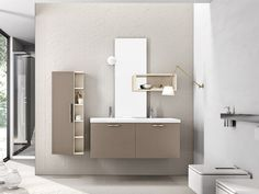 Lacquered wall-mounted vanity unit with cabinets KYROS 04 Kyros Collection by Edoné by Agorà Group | design Marco Bortolin