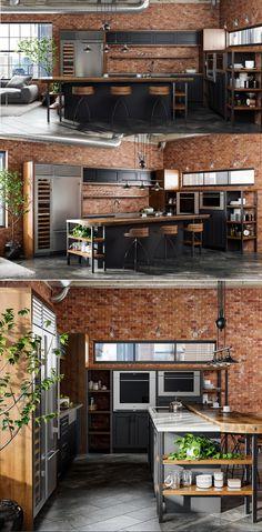 Industrial Style Kitchen Ideas In 2020 Design & Trends) - Brick Interior, Kitchen Interior, Home Building Design, House Design, Indian Home Design, Industrial Kitchen Design, Aesthetic Room Decor, Kitchen Styling, House Rooms