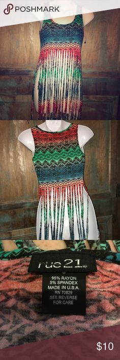 Brand new without tags crop top! Brand new never worn crop top! Super long fringe and bright colors make this top perfect for concerts this summer super thin breathable material! No holes or damages Rue21 Tops Crop Tops