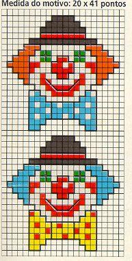 Clowns hama perler beads pattern http://mistertrufa.net/librecreacion/culturarte/?p=12