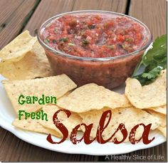 Healthy Recipes : Illustration Description garden fresh salsa recipe- We tried this with homegrown heirloom tomatoes and loved it. Eat the best, leave the rest ! Mexican Food Recipes, New Recipes, Cooking Recipes, Favorite Recipes, Healthy Recipes, Ethnic Recipes, Family Recipes, Healthy Eats, Garden Fresh Salsa Recipe
