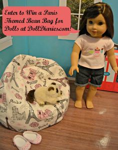 Paris themed bean bag for dolls giveaway