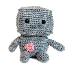 """Meet Sprocket the Robot! This adorable robot plush is way cuddlier than your normal robot, and measures 6"""" tall when completed. Who can resist that sweet little heart he has? Materials Required Bro..."""