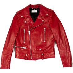 Pre-owned Saint Laurent Leather Biker Jacket ($2,245) ❤ liked on Polyvore featuring outerwear, jackets, tops, red, moto jacket, red motorcycle jacket, genuine leather jacket, motorcycle jacket and red moto jacket