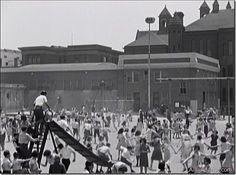 The Playground, Los Angeles High School, Fort Moore Hill, 1932 | Featured on Larry Harnisch's blog, 'The Daily Mirror', a screen cap from 'Three on a Match' (Warner Bros.1932) an Ann Dvorak vehicle ostensibly taking place in NYC but, of course, filmed here. In this case, on the playground of Los Angeles High School on Fort Moore Hill. An unusual, almost unique image from the high school property. Wow. Great stuff.  LADailyMirror.com