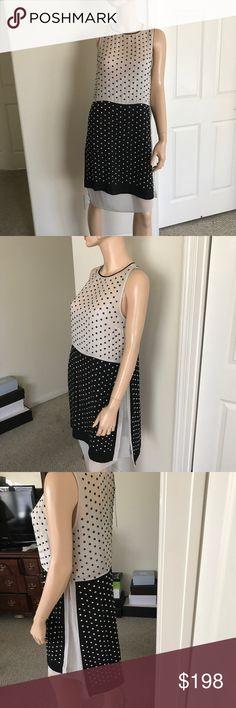Diane von Furstenberg Dress Two Piece Black and Grey Silk Night Out Dress Diane Von Furstenberg Dresses Midi