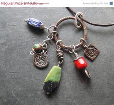 SALE 30% OFF Artisan Jewelry, Charm Necklace, Chrysoprase, Handmade Silver Copper, Antique Millefori Bead, Sundance Style. $77.00, via Etsy.