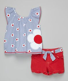Another great find on #zulily! Blue & Red Flower Ruffle Tank & Shorts - Girls #zulilyfinds