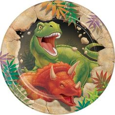 One hungry-looking T-Rex looks ready to chomp down on your cake, better serve it up fast on these Dinosaur Blast Dessert Plates! These sturdy paper plates measure about per pack) Dinosaur Party Supplies, Dinosaur Birthday Party, Birthday Box, Birthday Wishes, Happy Birthday, Party Plates, Cake Plates, Dessert Plates, Party Tableware