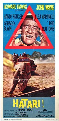 HATARI! (1962), John Wayne - Italy-orig, 30x70cm. Folded, VG