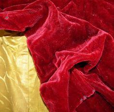 Stunning Antique 19thc Silk  Mohair Velvet Fabric Ruby by RuinsCa