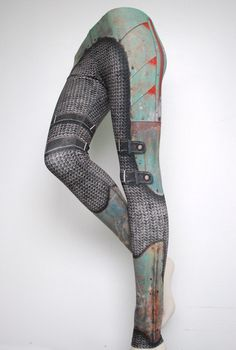 Armour Leggings  Size M Green  Printed Chainmail and by Mitmunk, $79.00
