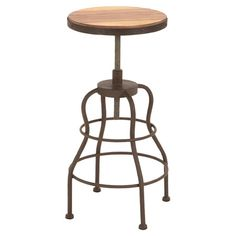 Barstool with a solid wood seat and antiqued iron frame.   Product: BarstoolConstruction Material: Solid wood ...