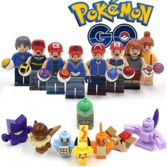 Pokemon Go Lego Mini Figures Building Blocks Minifigures Block Build Set John Derek, Lego Pokemon, Knight Models, Movie Decor, Lego Pictures, Pikachu, Super Mario Art, Fanart, Action Toys